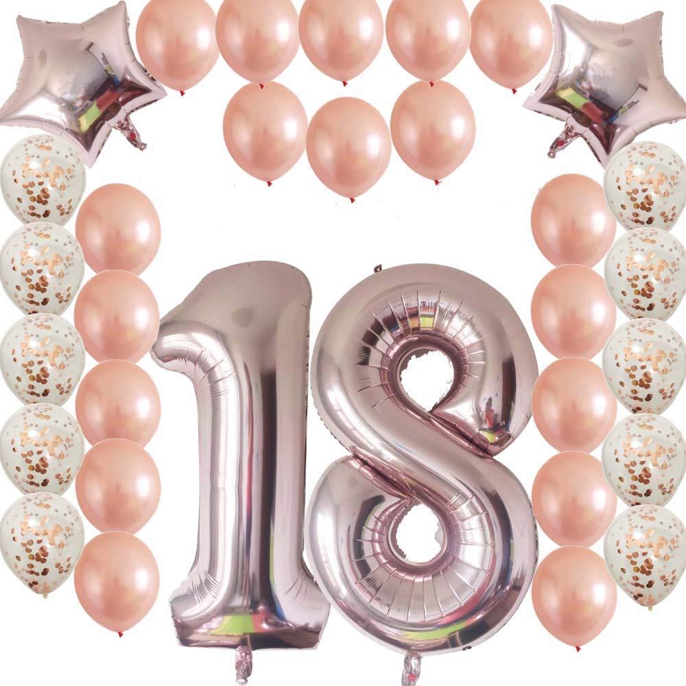 Get Quotations Cheeringup 18th Birthday Decorations Party Supplies Rose Gold Confetti Latex Balloons Happy
