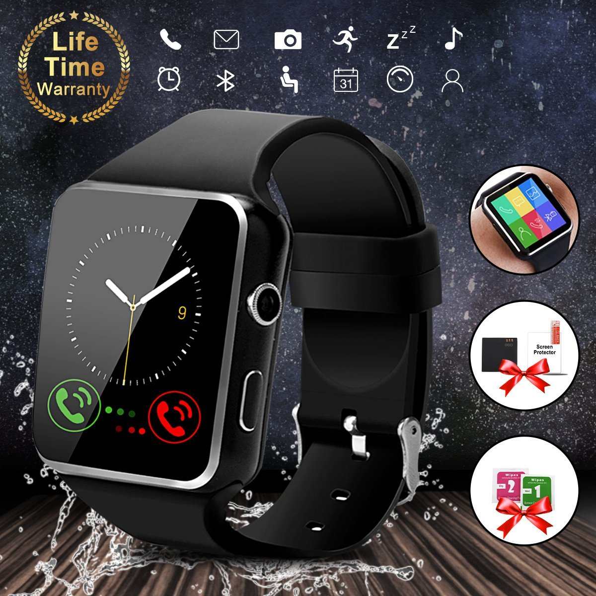 """Smart Watch with Bluetooth, 1.54"""" Touchscreen Smart Wrist Watch with Sim Card Slot, Camera Controller Bluetooth Watch Unlocked Smartwatch Phone for iPhone X 6 7 8 Plus Android Samsung"""