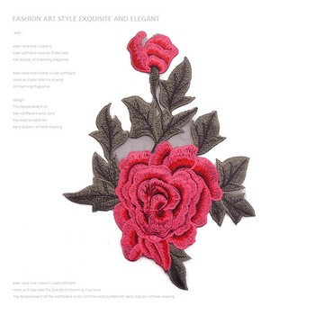 87ba9cc40cd5 Custom Red Rose Flower Embroidery Iron On Patches For Garments - Buy ...