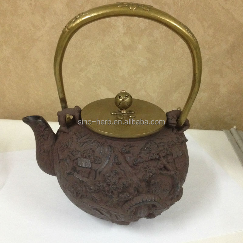 Handmade Cast Iron Teapot Teaset With Nice Sculpture Drawings