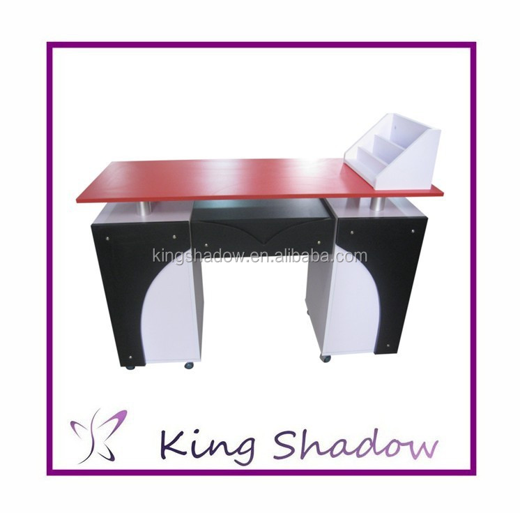 High gloss white lacquer nail table wood manicure table professional ...