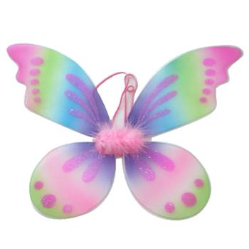 Katlanabilir Gökkuşağı Boyama Renkli Glitter Bebek Peri Kanat Parti