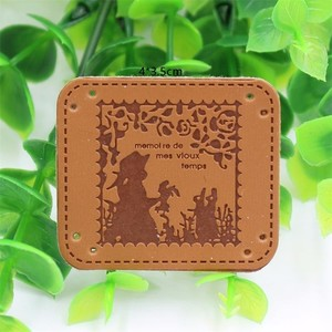 Customized pu garment label clothing faux leather label for jeans
