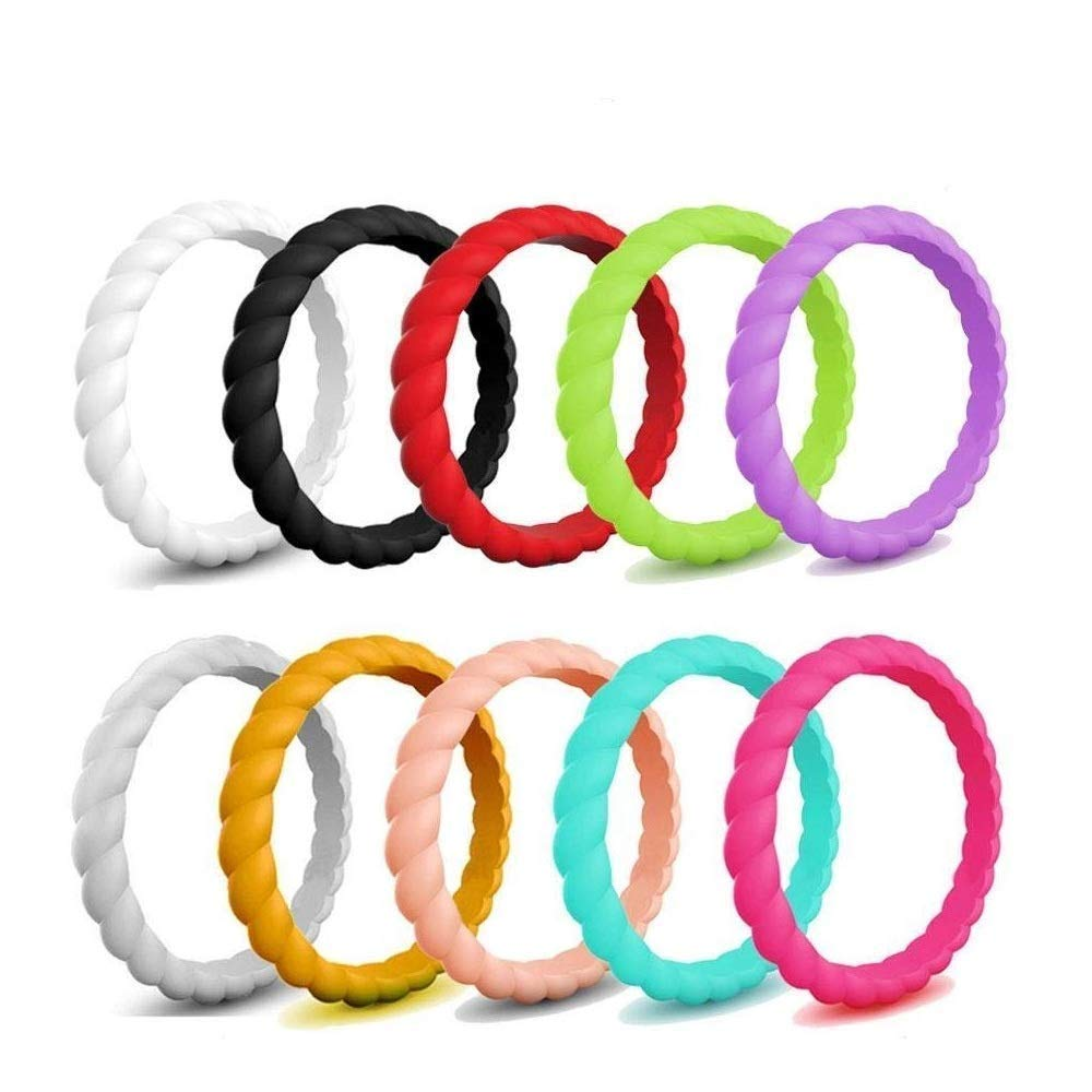 Aolvo Silicone Wedding Ring for Women 10 Packs Braided Style Affordable Stackable Thin Rubber Wedding Bands-White/Black/Red/Green/Purple/Gray/Yellow/Pink/Turquoise/Rose Red, Comfortable Fit&Skin Safe