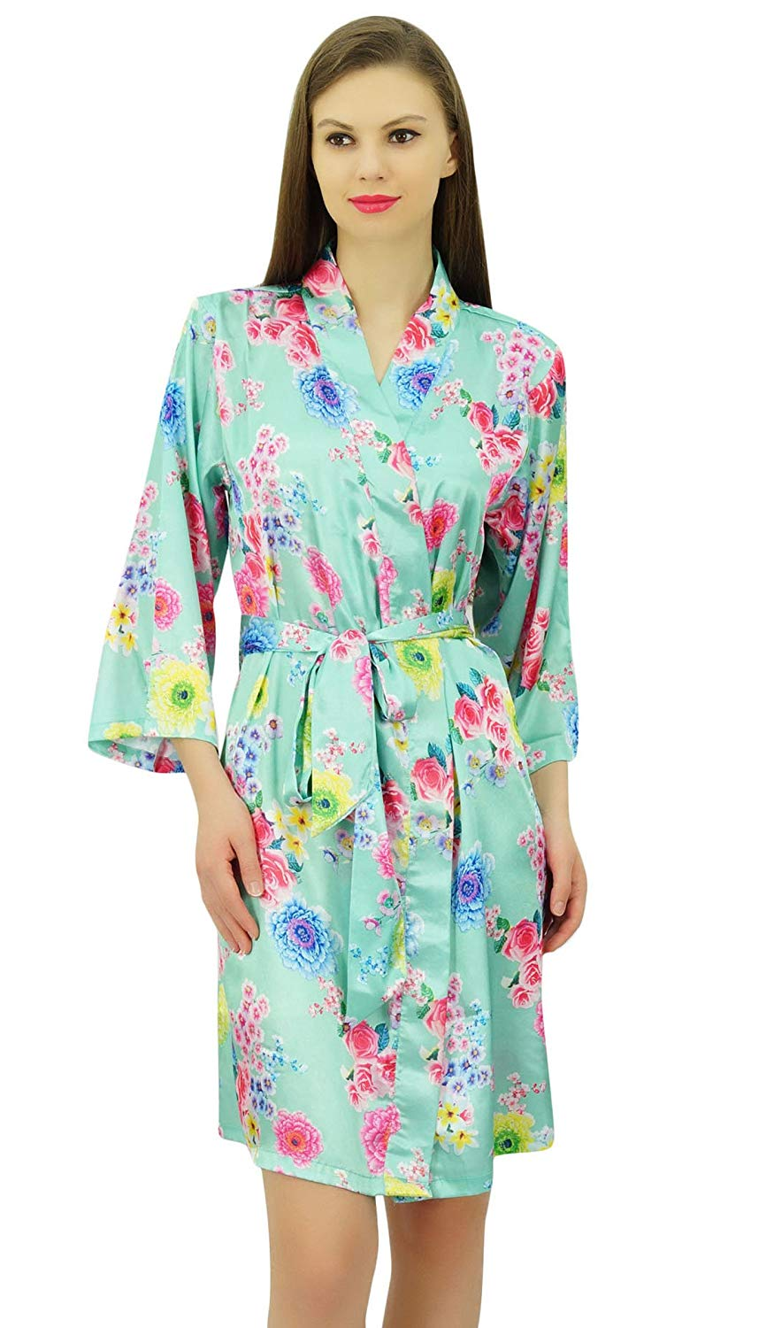 4ee8eea692 Get Quotations · Bimba Womens Kimono Robes Floral Wedding Gifts Satin Getting  Ready Coverup Bridesmaid Robes