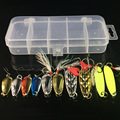 10Pcs Box Metal Spoon Fishing Lures Set in Plastic Fishing Tackle Box Spinner Bait Spoon Lure