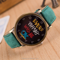 NW008 Black Unisex Leather Strap Analog Mens Hand Watch Brand