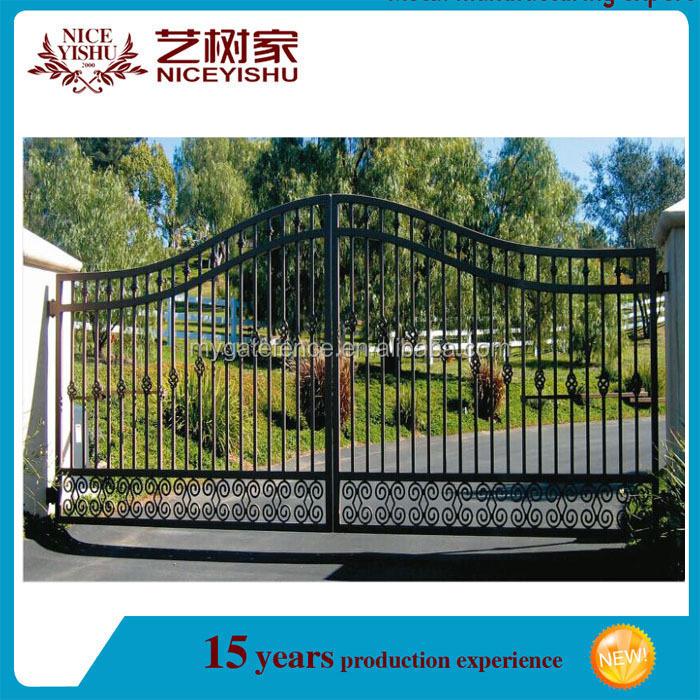 Yishujia fabrik anpassen günstige schmiedeeisen einfahrt tor ...