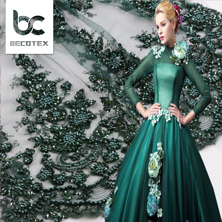 2018 emerald green beaded lace fabric hand embroidery lace fabric for wedding lace