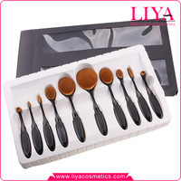 Newest 10pcs multi-purpose Toothbrush shape rose gold Oval Makeup Brush Set