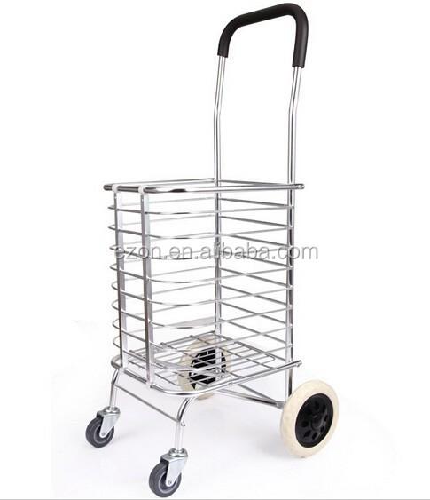 מגניב ביותר עגלת קניות מתקפלת מתכת/אלומיניום מתקפל עגלת קניות קידום מכירות JR-61