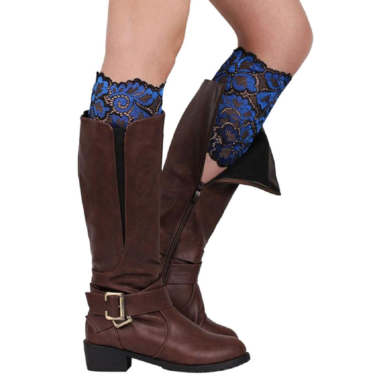 Tonsee Womens Stretch Lace Boot Leg Cuffs Soft Laced Boot Socks
