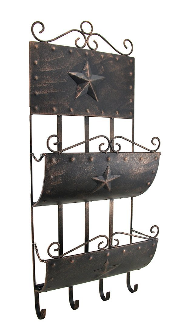 Zeckos Metal Decorative Wall Hooks Rustic Western Star Metal Wall Mounted Mail Center W/Hooks 11.75 X 29.5 X 4.5 Inches Black
