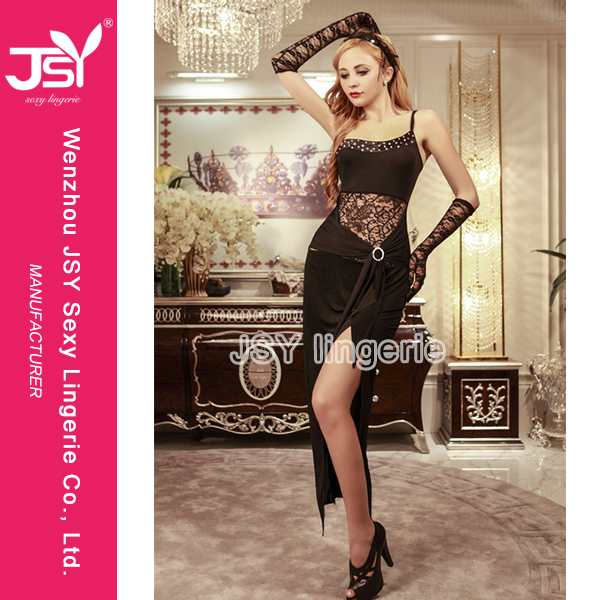 Adult Shop High Quality Sexy Long Dress Club Babydoll Nighty Lingerie Satin/Lace Polyester/Nylon Yiwu China Manufacturer Factory