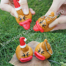 Soft rubber fake squeeze poop toy pop out tongue with keychain