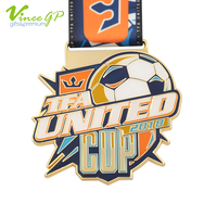 New design custom brass plating united cup football medal sport medals made in china