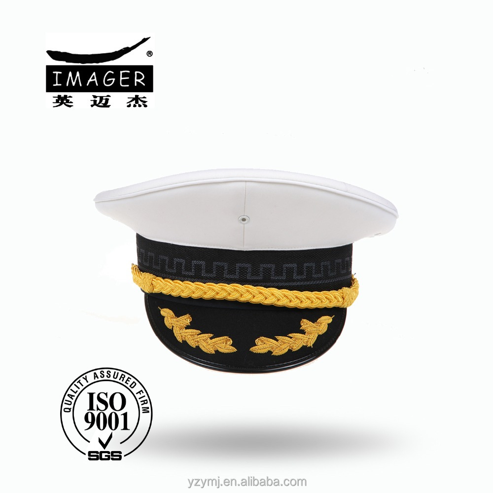 Customized Air Defence Forces Captain Hat with Gold Embroidery for Marine