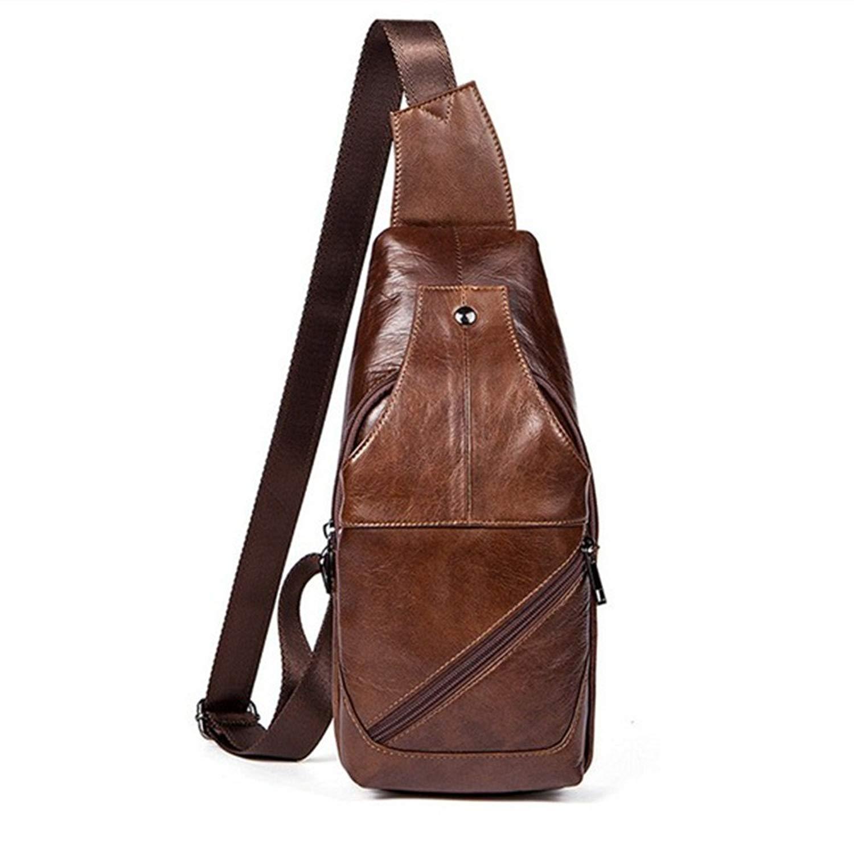 5573f7b3992 Get Quotations · Men Genuine Leather Chest Bag Mens crossbody Shoulder Bag  Satchel Backpack Sling Bag