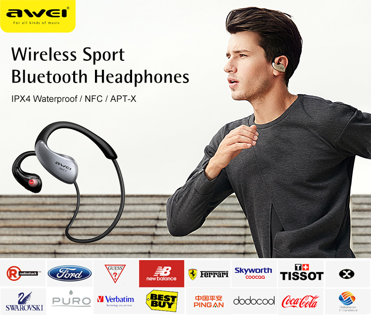 AWEI A885BL Latest 2017 IPX5 Noise Cancelling Waterproof Sport Wireless Bluetooth Headphones