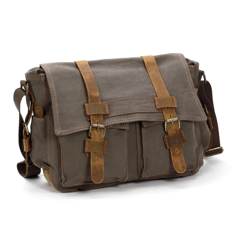 9b6192b448 Mens Vintage Canvas Leather Messenger Bag Satchel Military Shoulder School  Bag
