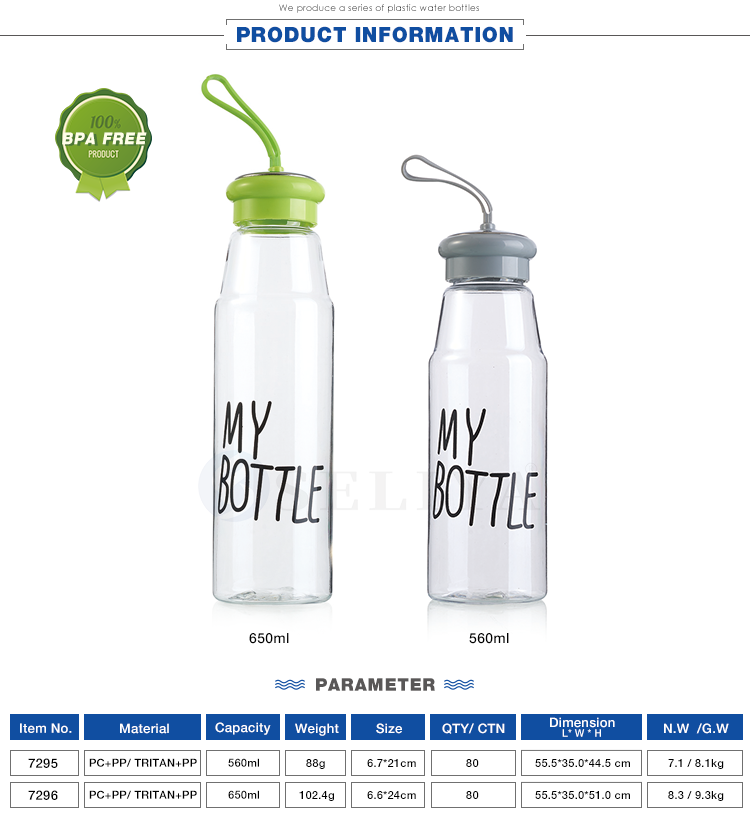 Custom color clear pet plastic my bottle 560ml 650ml sport water bottle