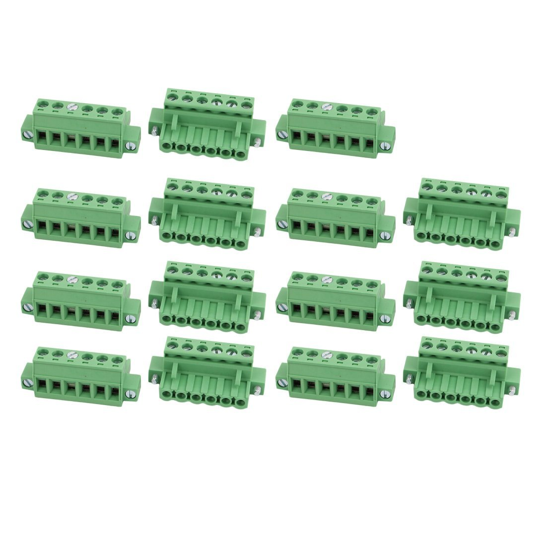 uxcell 15 Pcs LC1M AC300V 15A 5.0mm Pitch 6P PCB Mount Terminal Block Wire Connector