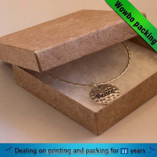 Hot sale cardboard nice necklace packaging box with lids/ brown kraft jewelry box