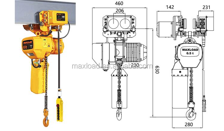 0 5 Ton Monorail Electric Chain Hoist Crane With Manual