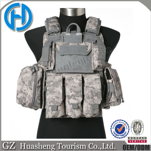 Tactical style outdoor molle paintball plate carrier vest acu