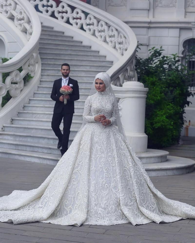 luxury vintage lace muslim wedding dresses 2018 high collar long sleeves  hijab custom made bridal gowns - buy taobao wedding dress,cheap wedding