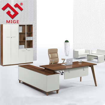 Modern Design Teak Wood L Shaped Executive Office Desk