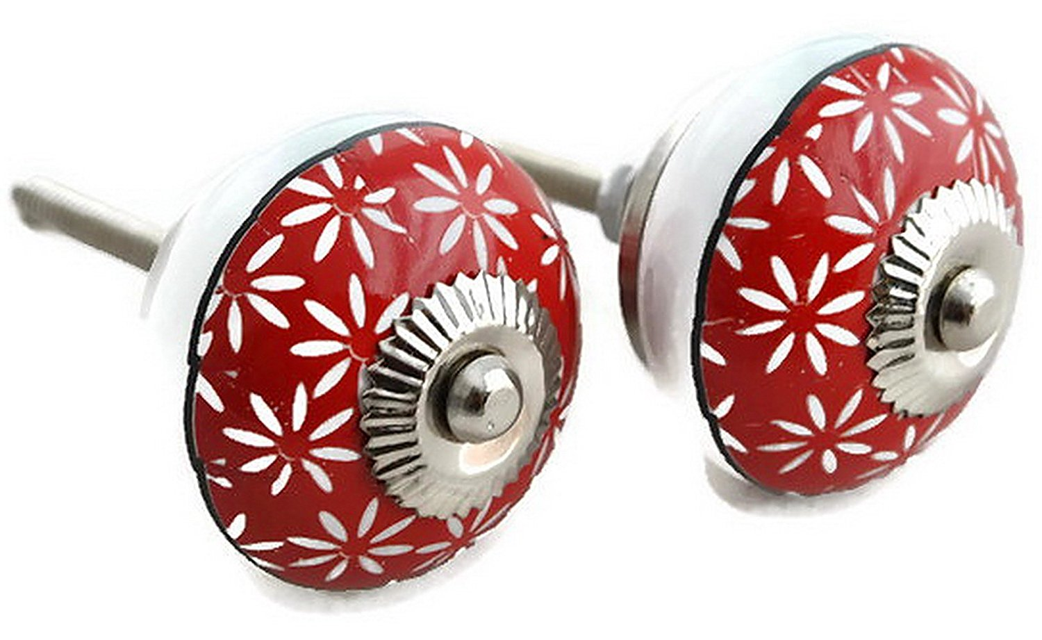StarZebra- Handmade Hand-painted Ceramic Knobs & Pulls - set of 2 Decorative Handles for Cabinets/Dressers/Drawers - Home Decor - Red Wine