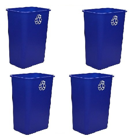 United Solutions EcoSense WB0069 Blue Plastic 41 Quart Recycling Indoor Wastebastket-10.25 Gallon EcoSense Blue Recycling Trash/Refuse Can in Blue - 4 Pack