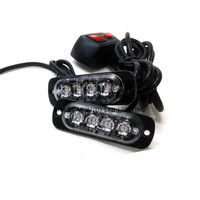Super Thin 4 LED Car Grille Motorcycle Emergency Warning Safety Driving 11-26V DC Strobe Flashing Light Kits