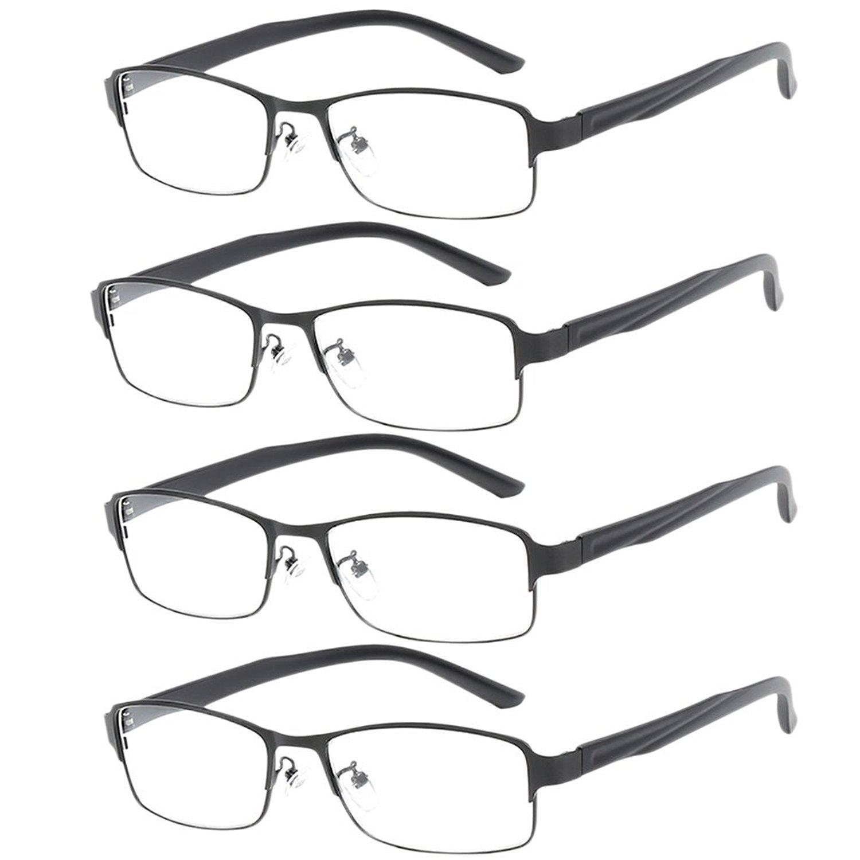 Zhuhaitf 4X Readers Eyeglasses Reading Glasses for Men Women Retro +1.00 +2.50 +4.00