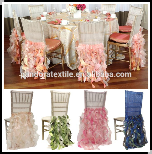 Best quality promotional chiffon ruffled chair sash for wholesale