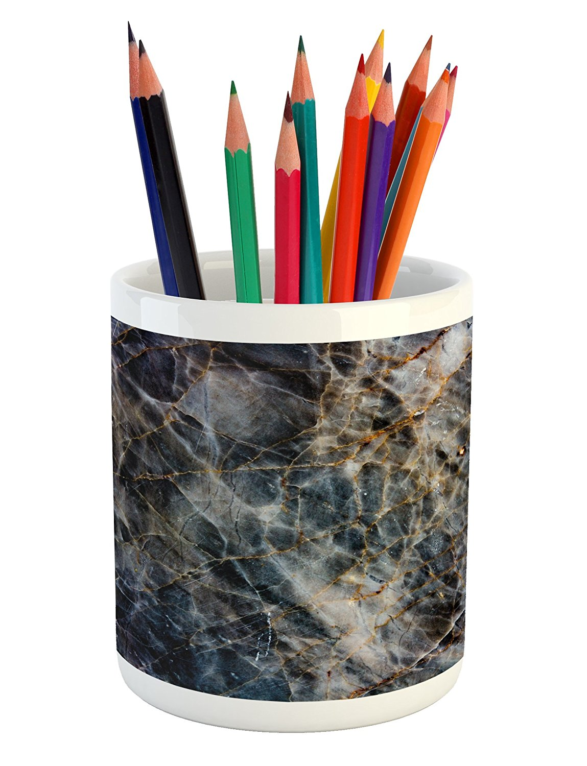 Marble Pencil Pen Holder by Lunarable, Gold Grunge Texture with Scratch Effects Distress Stylish Motif, Printed Ceramic Pencil Pen Holder for Desk Office Accessory, Charcoal Grey Marigold Dust