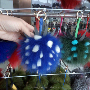 Hengshui Daying Supplier Wholesale Pineapple Ball Pom pom real Fox Fur  Keychain 0f37ad621cdc