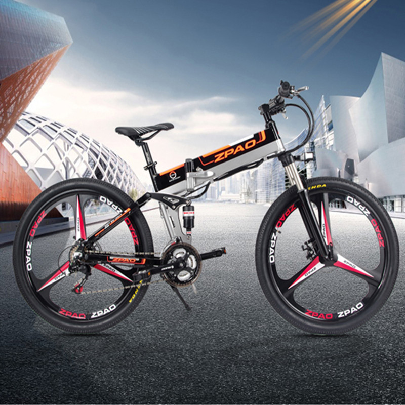 48V 12.8AH Lithium Battery E Bicycle Aluminium Alloy Frame 350W Folding Electric Bike 26 Inch, Black;white optional