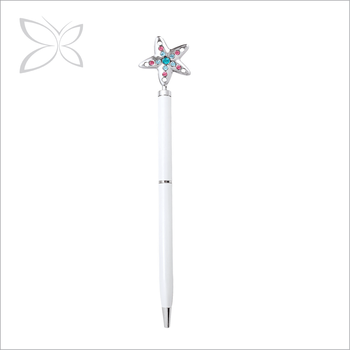 Crystocraft Elegant Chrome Plated Star Decorated with Crystals from Swarovski Metal Ball Pen