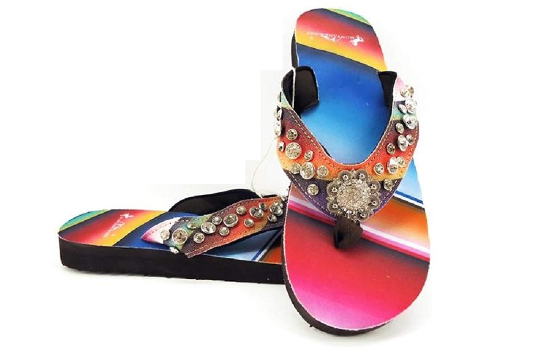 af3eab43c799 Get Quotations · Montana West Aztec Chevron Bling Rhinestone Serape Thin  Sole Flip Flops Sandals Jp