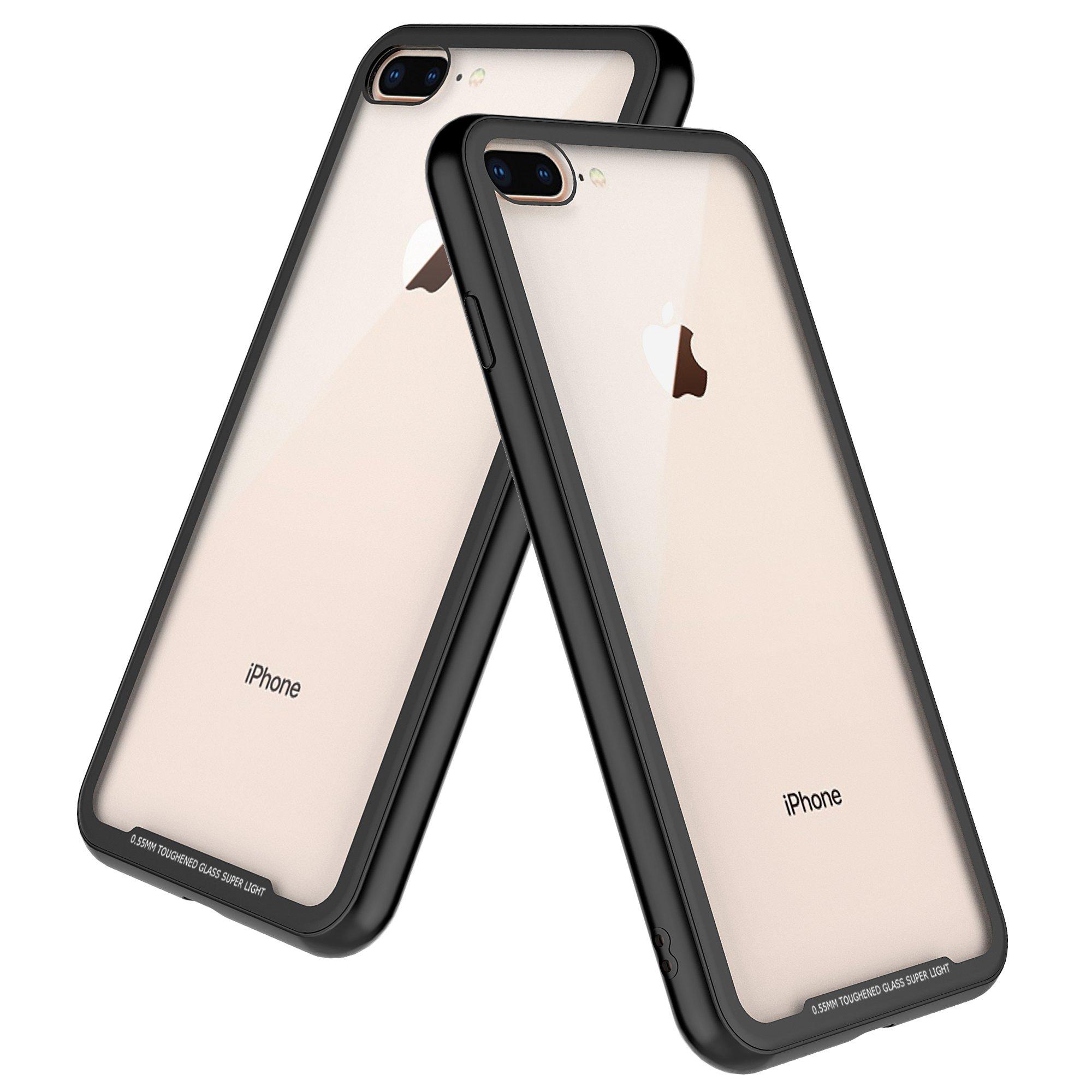 iPhone 8 Plus Case,Despot_ak,Transparent Tempered Glass Back Plate and Soft TPU Gel Bumper-Black