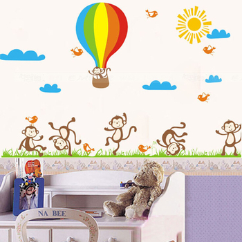 decorative removable 3d monkey wall stickers for baby pacman cartoon removable wall stickers for kids baby rooms