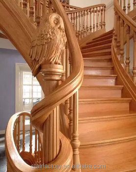 European Fashion Arc Bending Solid Wood Spiral Staircase