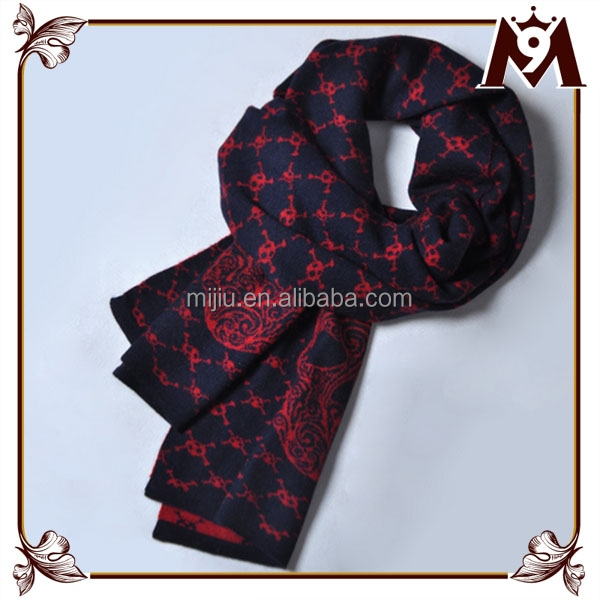 High grade yiwu soft 100 cashmere men design print knitted scarf