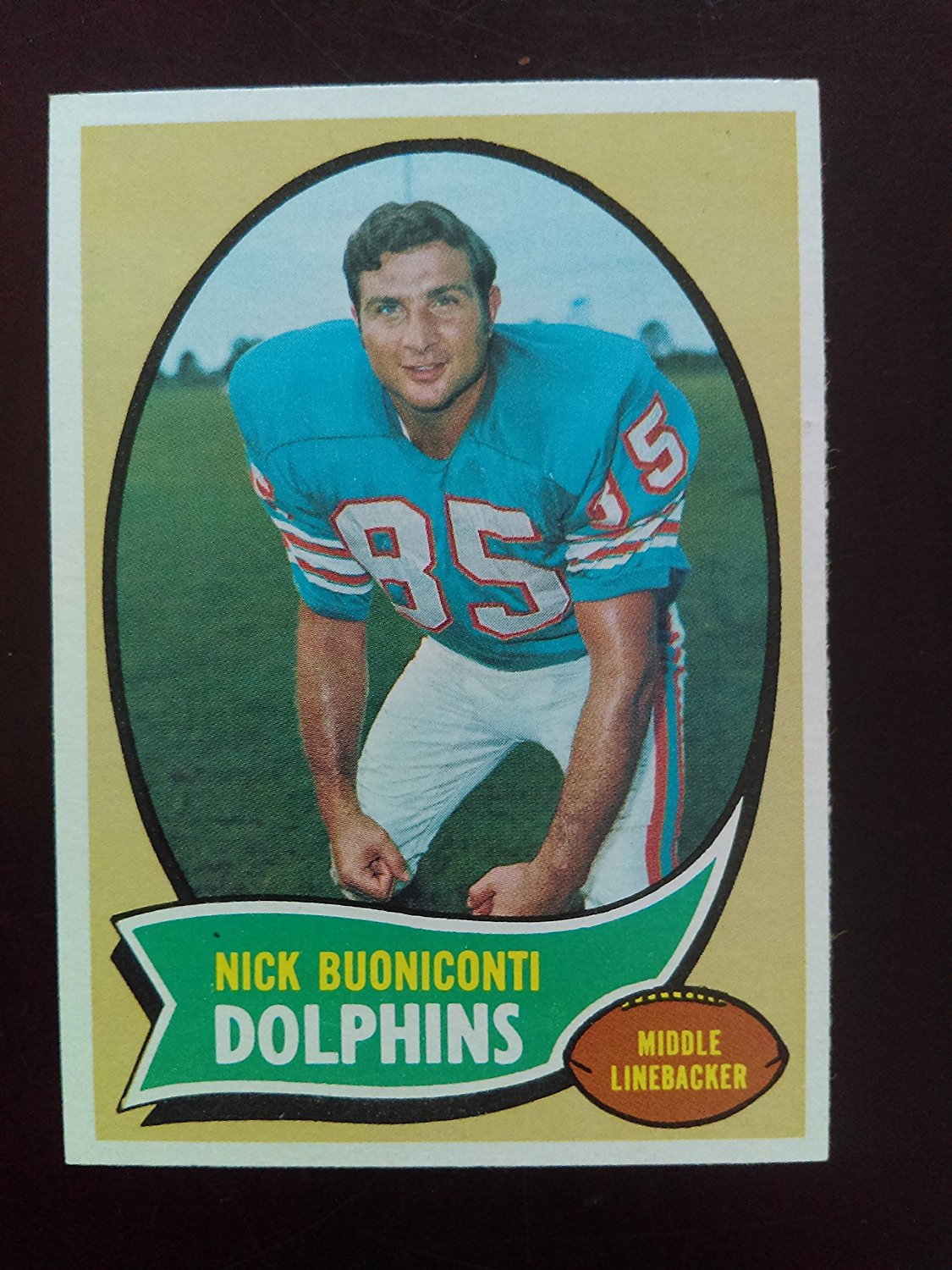 Nick Buoniconti (Football Card) 1970 Topps #244 - Miami Dolphins - Notre Dame Fighting Irish / Hall of Famer / Member of Undefeated Dolphins Team 17-0!