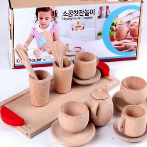 Children 's tea sets toys nature wood color sets baby simulation wood playing toy set