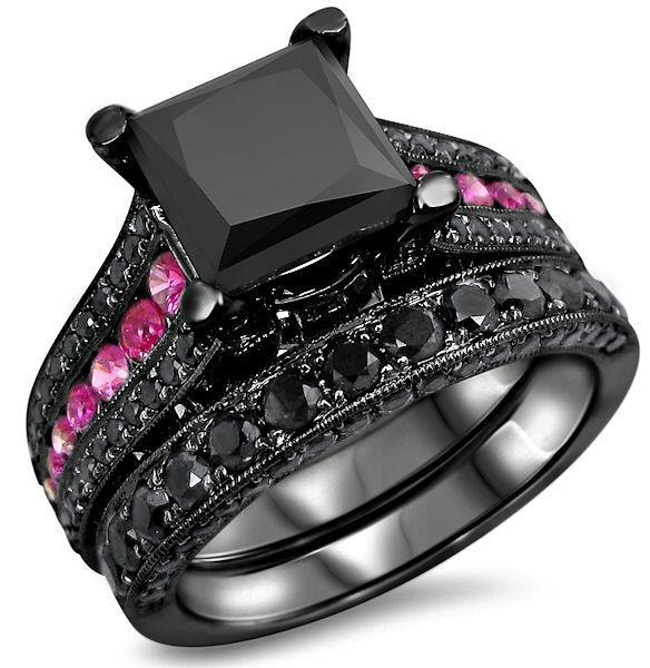 2.50ct Princess Cut Black Moissanite And Pink Sapphire