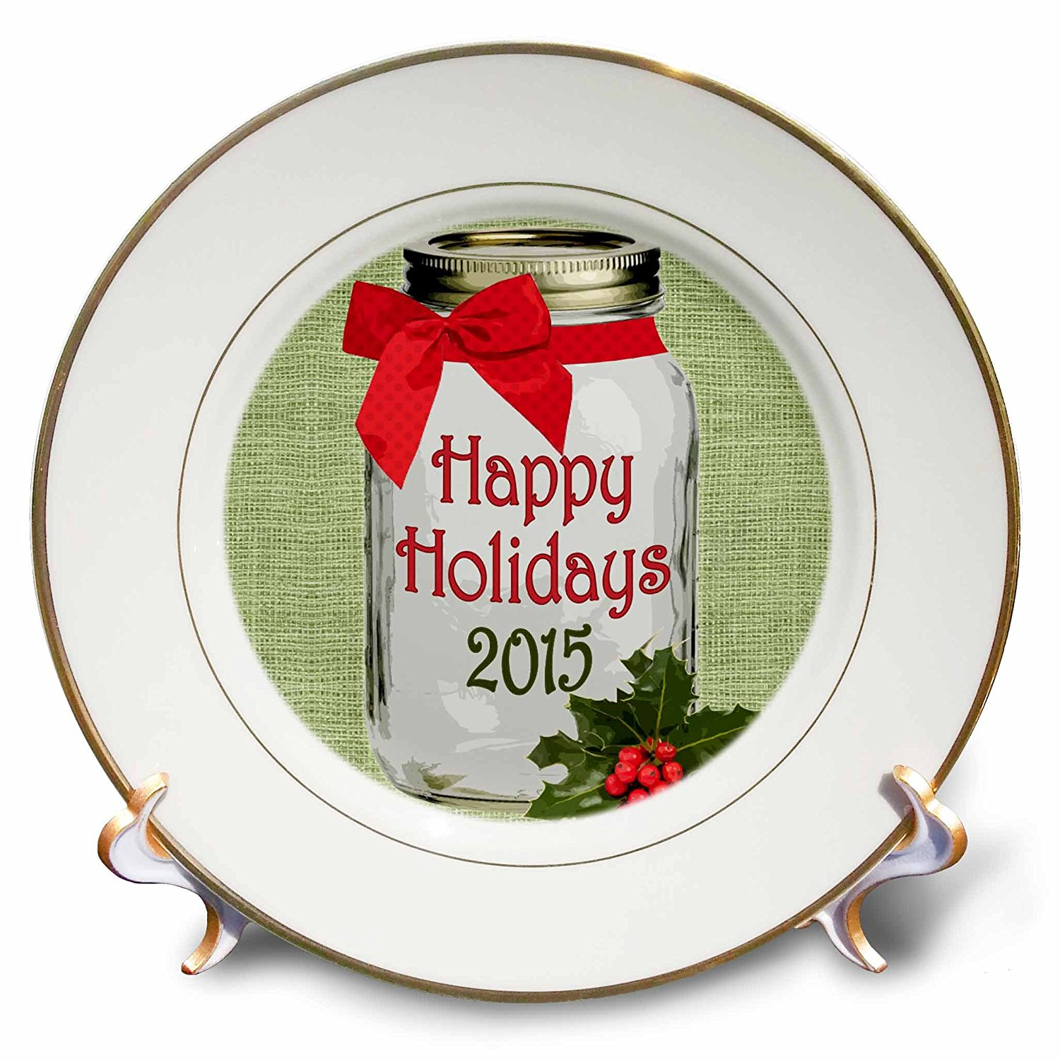 Janna Salak Designs Rustic Designs - Mason Jar Country Happy Holidays with Bow and Holly 2015 - 8 inch Porcelain Plate (cp_165878_1)