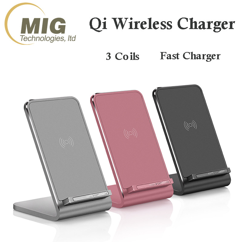 Fast Wireless Charger 3 Coils Cell QI Fast Wireless Charging Pad Stand for Samsung Galaxy S8 S7 S7edge S6 S6edge note 5